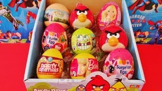 9 SURPRISE EGGS unboxing SpongeBob SquarePants, Angry Birds, Disney Fairies, Barbie