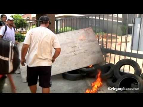 Argentines burn tyres and Union Jack at anti-British protest