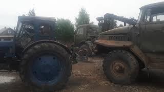 Тащу на Т-40АМ урал 4320 лесовоз