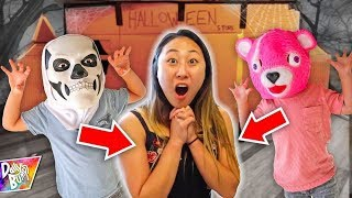 HALLOWEEN SCARY FORTNITE MASK PRANK on LIZZY SHARER! (Box Fort Costume Store!)
