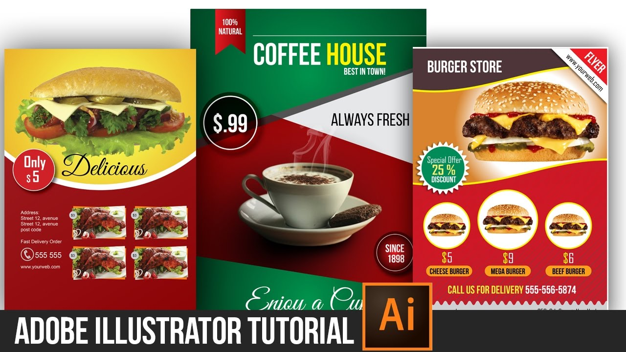 Photoshop poster design youtube - Tutorials Professional Coffee Poster Design Adobe Illustrator Photoshop Cc Dynamic Link Youtube