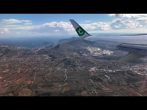 Flying Transavia Airlines Netherlands from Athens, Greece, to Amsterdam Schiphol