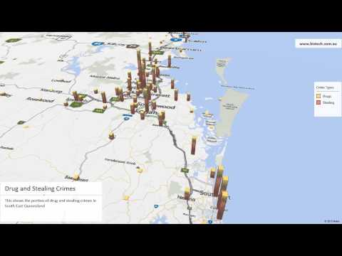 Microsoft Power Map - Crime data Queensland
