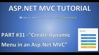 How to create dynamic Menu in ASP NET MVC using partial view and bootstrap Part 31