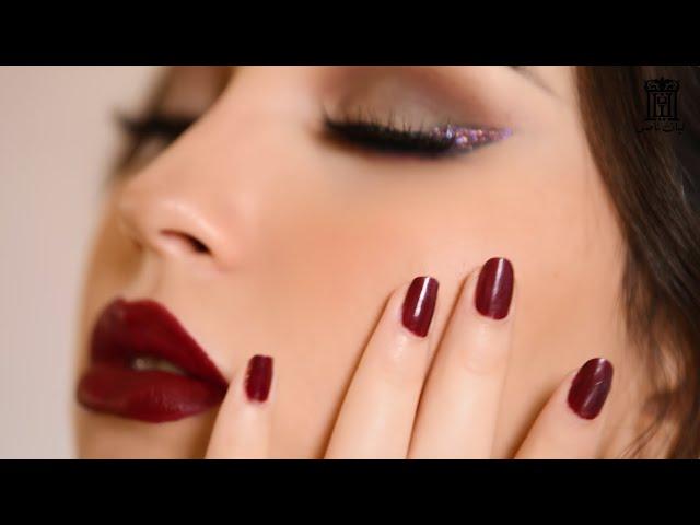 مكياج كحل ازرق مع روج احمر عنابي | ليان ناصر