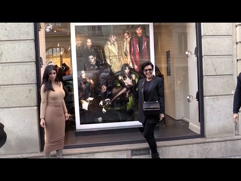 Kim Kardashian and mother Kris Jenner pose with Givenchy Ad in Paris showing Kendall