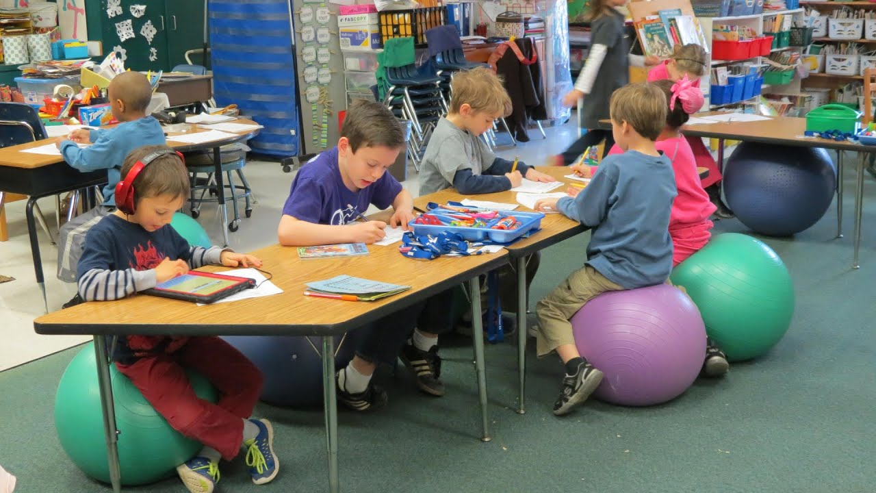 Elementary Classroom Playlist ~ Elementary schools replacing chairs with exercise balls