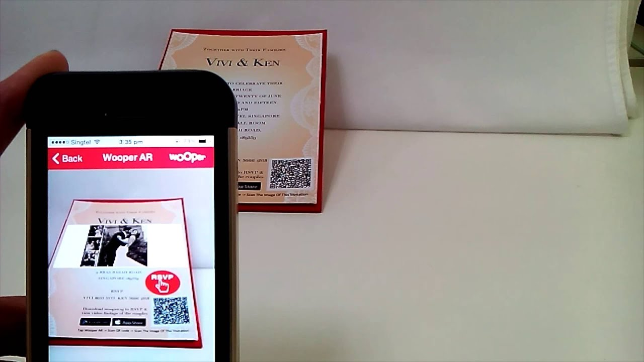 augmented reality ar on a wedding invitation card youtube