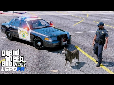 GTA 5 LSPDFR Police Mod #616 California Highway Patrol K9 Unit - Police Dog Searching For Drugs