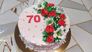 Торт на юбилей с розами и лилиями Anniversary cake with roses and lilies