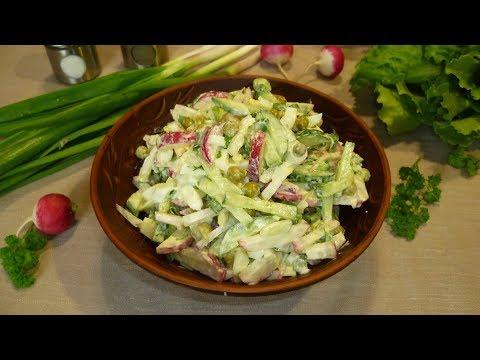 Салат из редиски с горошком, яйцом и огурцом