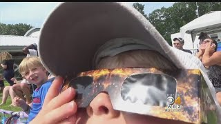 Crowds Gather To Watch Solar Eclipse In Boston Area