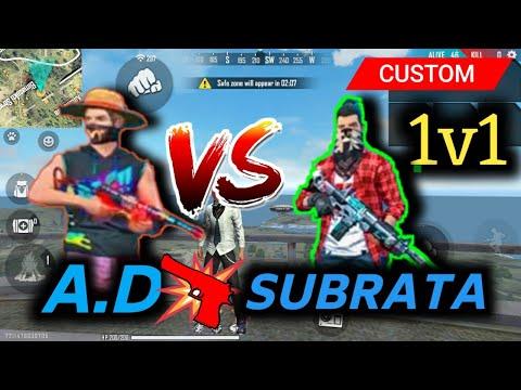 AD Vs Gaming Subrata 1v1 Custom || Free Fire || Safe Army