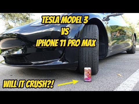 Tesla Model 3 vs iPhone 11 Pro Max + Drop Test 📱💥🚗 DOES IT CRUSH?