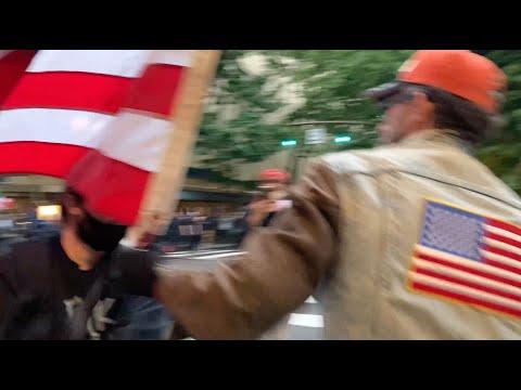 Man carrying American flag beaten by antifa & BLM in Portland