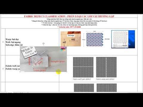 Fabric defect classification - Các loại lỗi vải thường gặp trong tiếng Anh