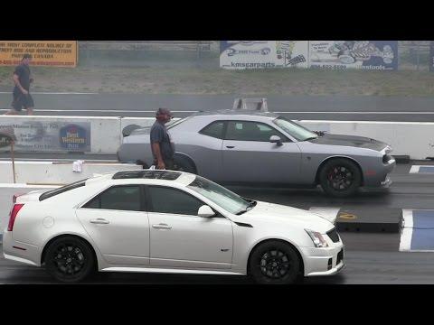 2016 Hellcat battles CTS-V Cadillac-1/4 mile drag race