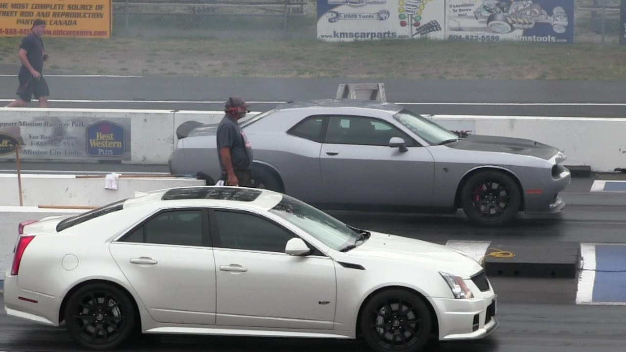 small resolution of 2016 hellcat battles cts v cadillac 1 4 mile drag race