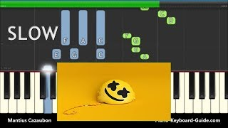 Marshmello ft. Bastille Happier Slow Piano Tutorial with Chords