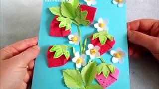 DIY. Erdbeerkarte. Origami Erdbeere aus Papier falten. Ideen für Muttertag und Vatertag