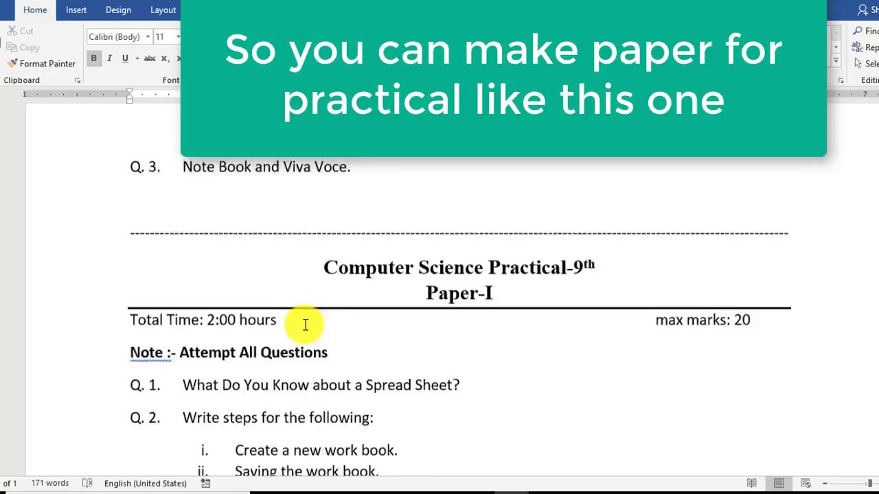 how to type question paper in ms word for practical note book youtube