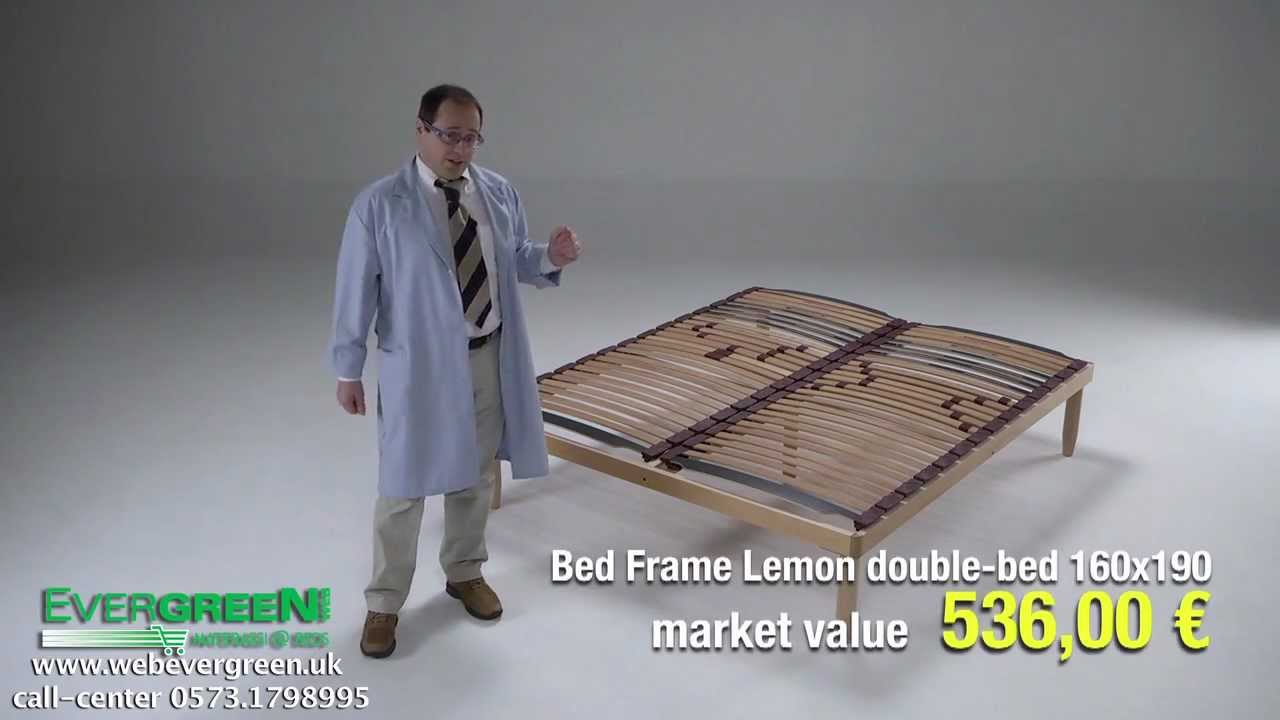 lemon fixed wooden bed base slats cushioned king size 5ftx6ft6