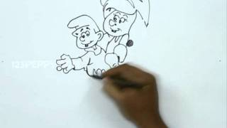 How to Draw Smurfette with Baby Smurf