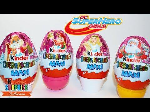 МАКСИ Киндер Сюрприз НОВОГОДНИЙ для девочек DC Super Hero Girls Unboxing Kinder Surprise Eggs