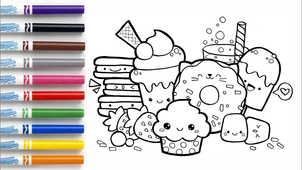How to draw Cute Desserts Coloring Book Page - YouTube