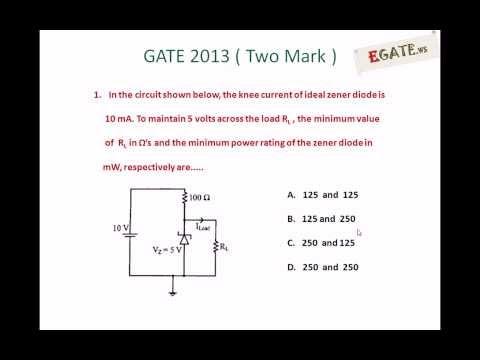 Problem on Zener diode voltage regulator - GATE 2013 Solved Paper (Electron Devices) (www.egate.ws)