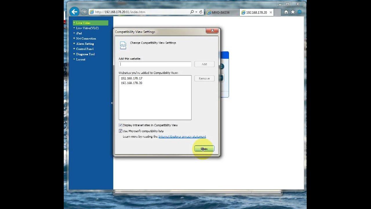 IP camera on Internet Explorer 11 win7