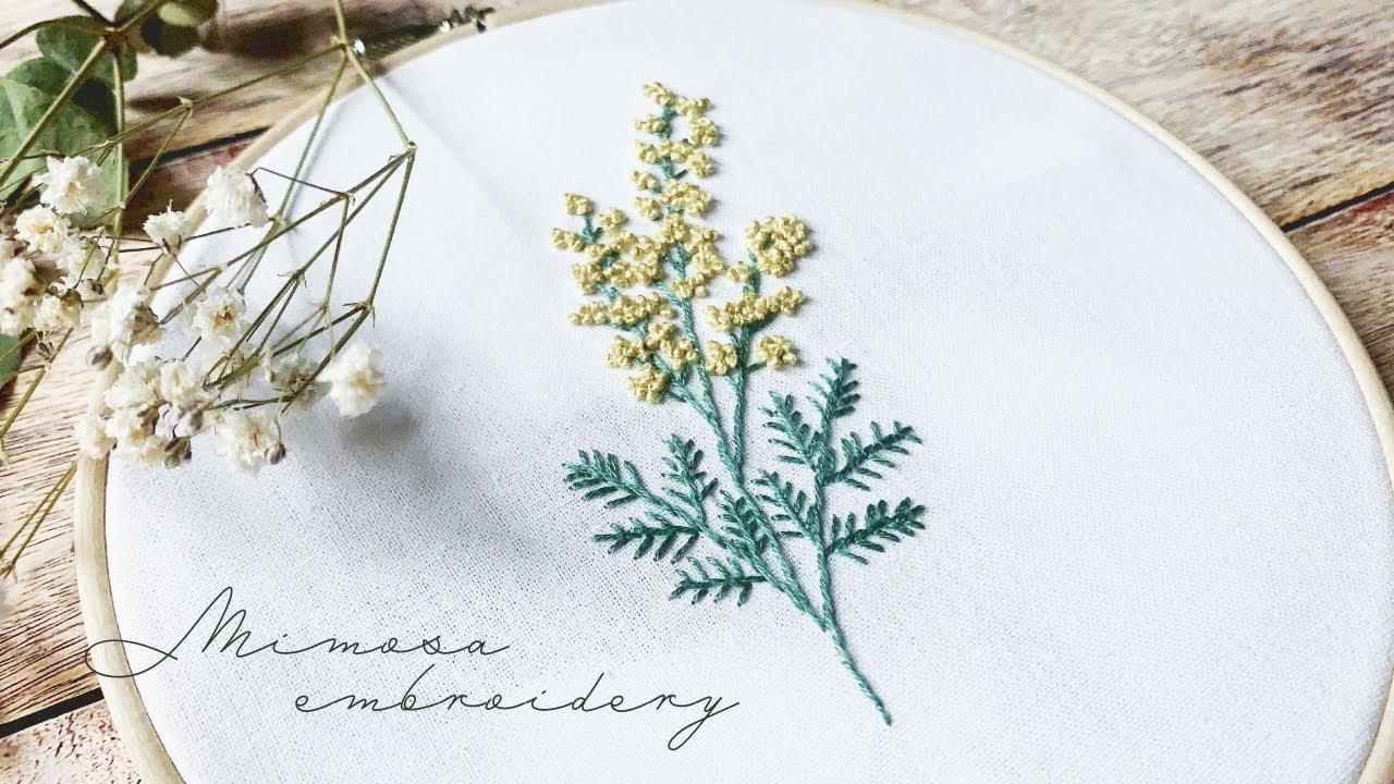 刺繍初心者でも簡単!ミモザの花刺繍のやり方【刺繍図案の無料配布】フレンチノットステッチをきれいに縫うコツ