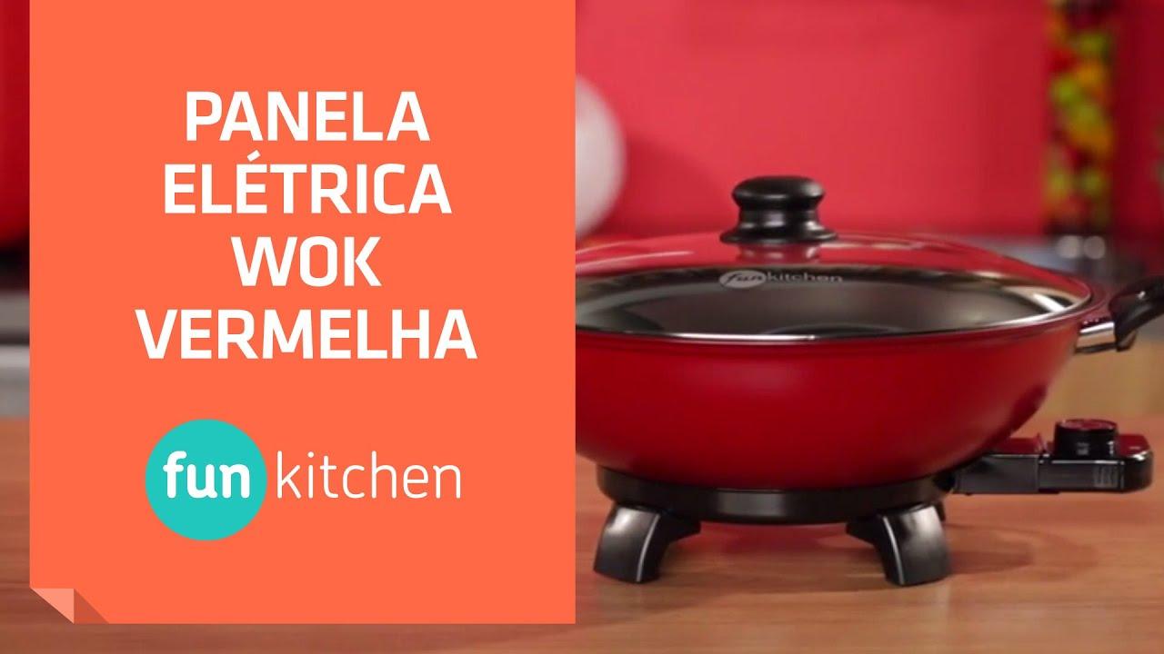 panela el繝筰trica wok vermelha fun kitchen shoptime youtube