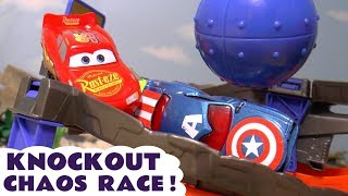 Disney Cars Lightning Mcqueen Chaos Knockout Races With Funny Funlings And Superhero Cars Tt4u