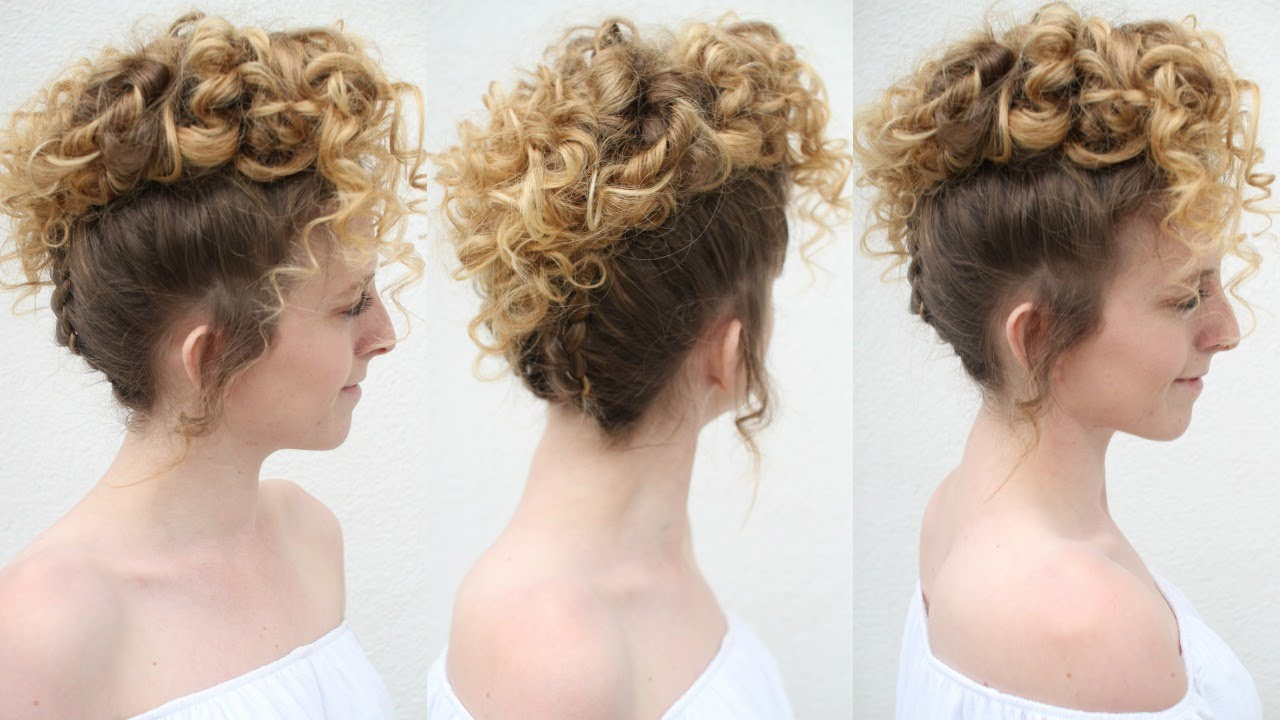 Curly Faux Hawk | Braided Curly Updo | Braidsandstyles12