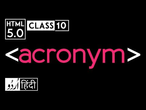 Acronym Tag - Html 5 Tutorial In Hindi - Urdu - Class - 10