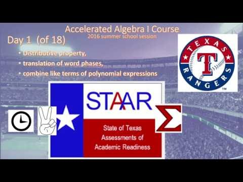 Sonne Algebra 1 Summer for STAAR day 1 (Reporting Category 1; TEKS A 10)