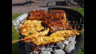Германия.Грилем свиные рёбра,куриные и индюшачьи грудки