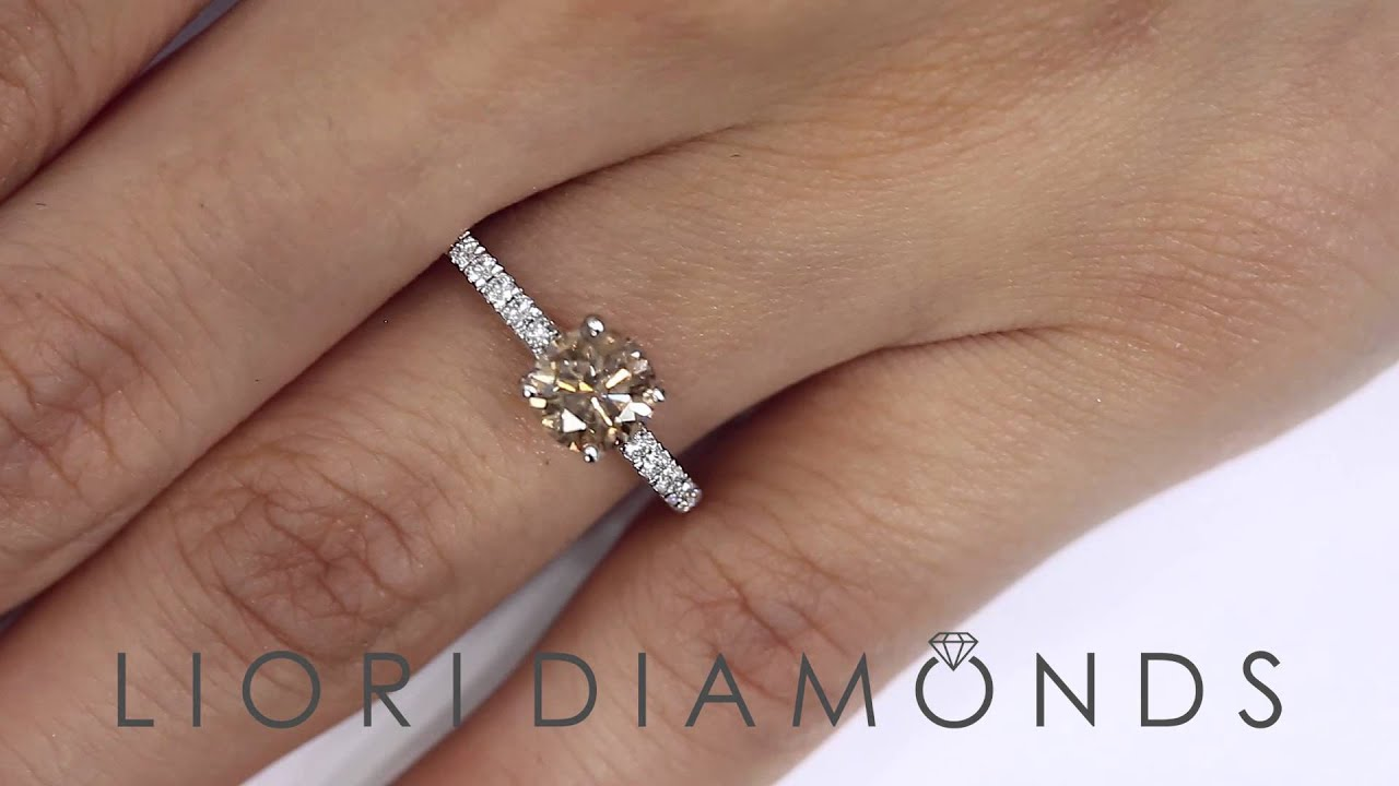 Fd524  128 Carat Natural Fancy Cognac Brown Diamond Engagement Ring 18k  White Gold