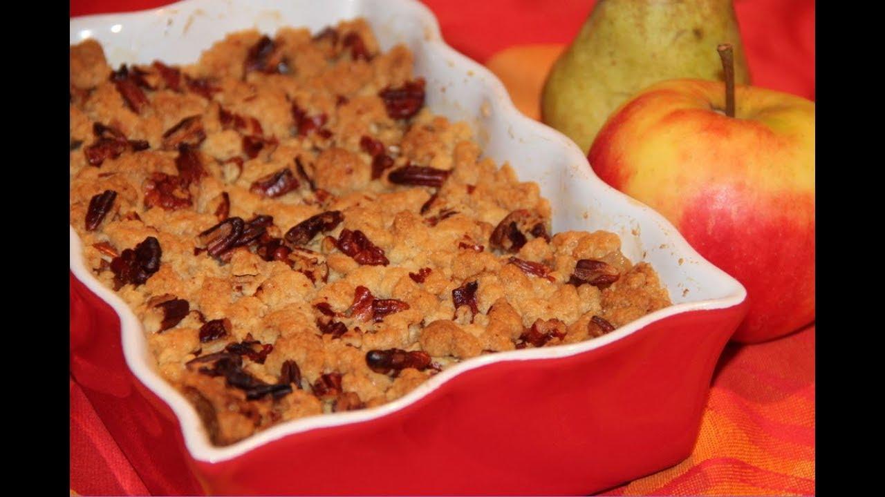 Crumble pommes poires et noix de pécan