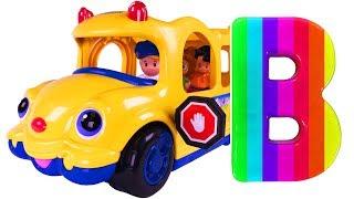 Learn ABC Song for Children | Alphabet School Bus Toys Wheels on the Bus Nursery Rhymes | Teach ABCs