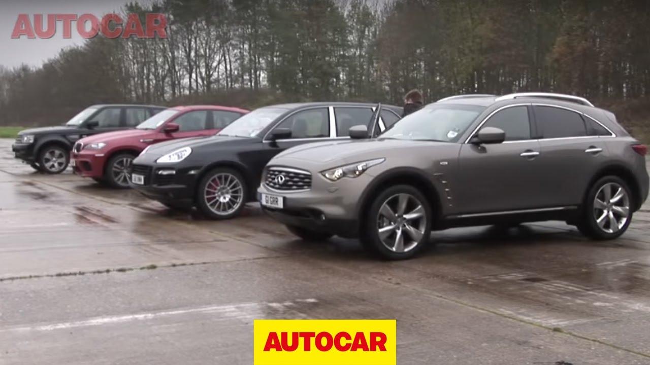 Porsche Cayenne V Bmw X6 M V Infiniti Fx V Range Rover Sport Drag Race By Autocar Co Uk Youtube