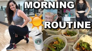 Morning Routine for WEIGHT LOSS + Success! | Workout, Healthy Breakfast Meal + Productivity Tip
