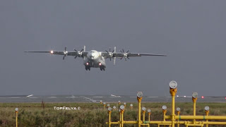 Antonov An-22 Crosswind Take Off Word's Biggest Turboprop Manchester Airport