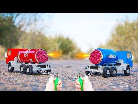 Experiment: Coca Cola vs Pepsi (Turbo Trucks)
