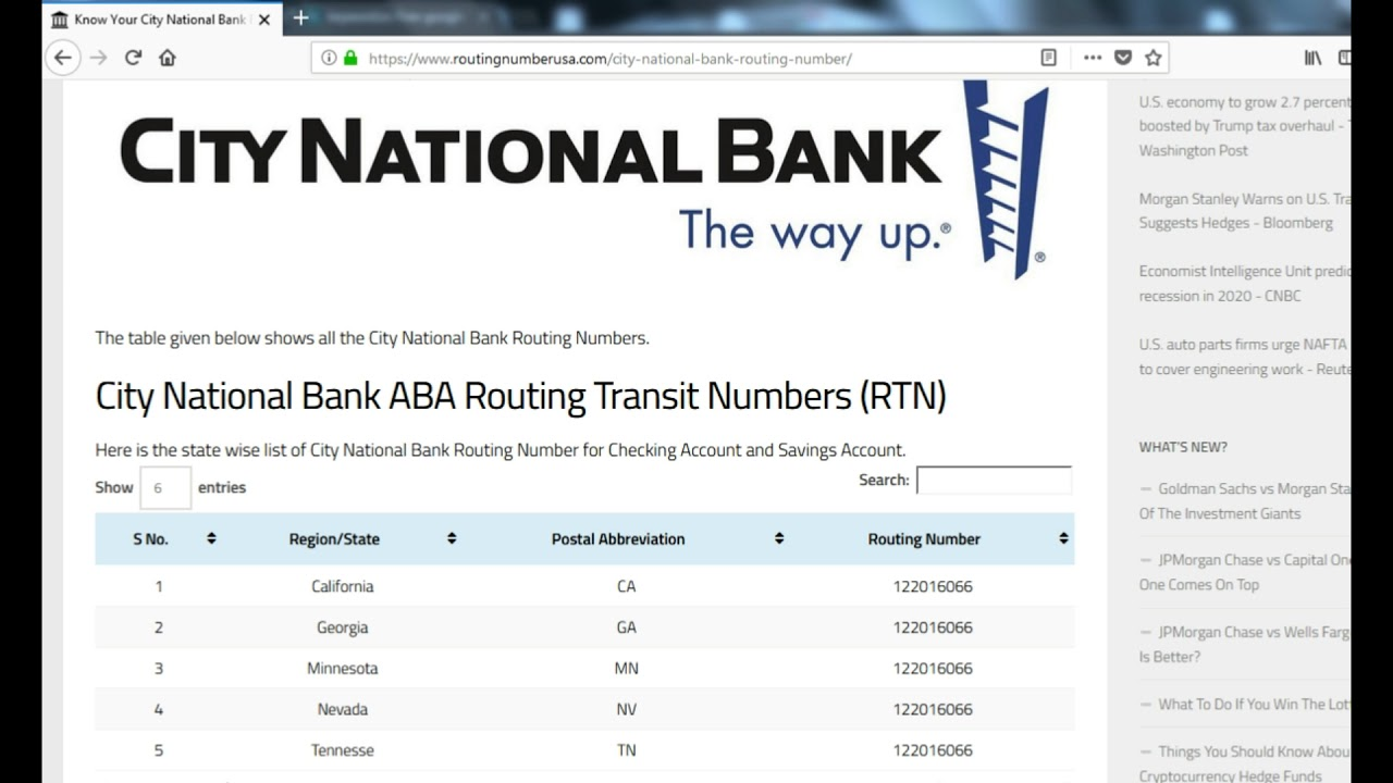 How To Find City National Bank Routing Number?