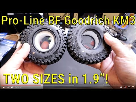 Pro-Line BF Goodrich KM3 1.9 Tires Normal vs Class 1 - Unboxing and Size Comparison