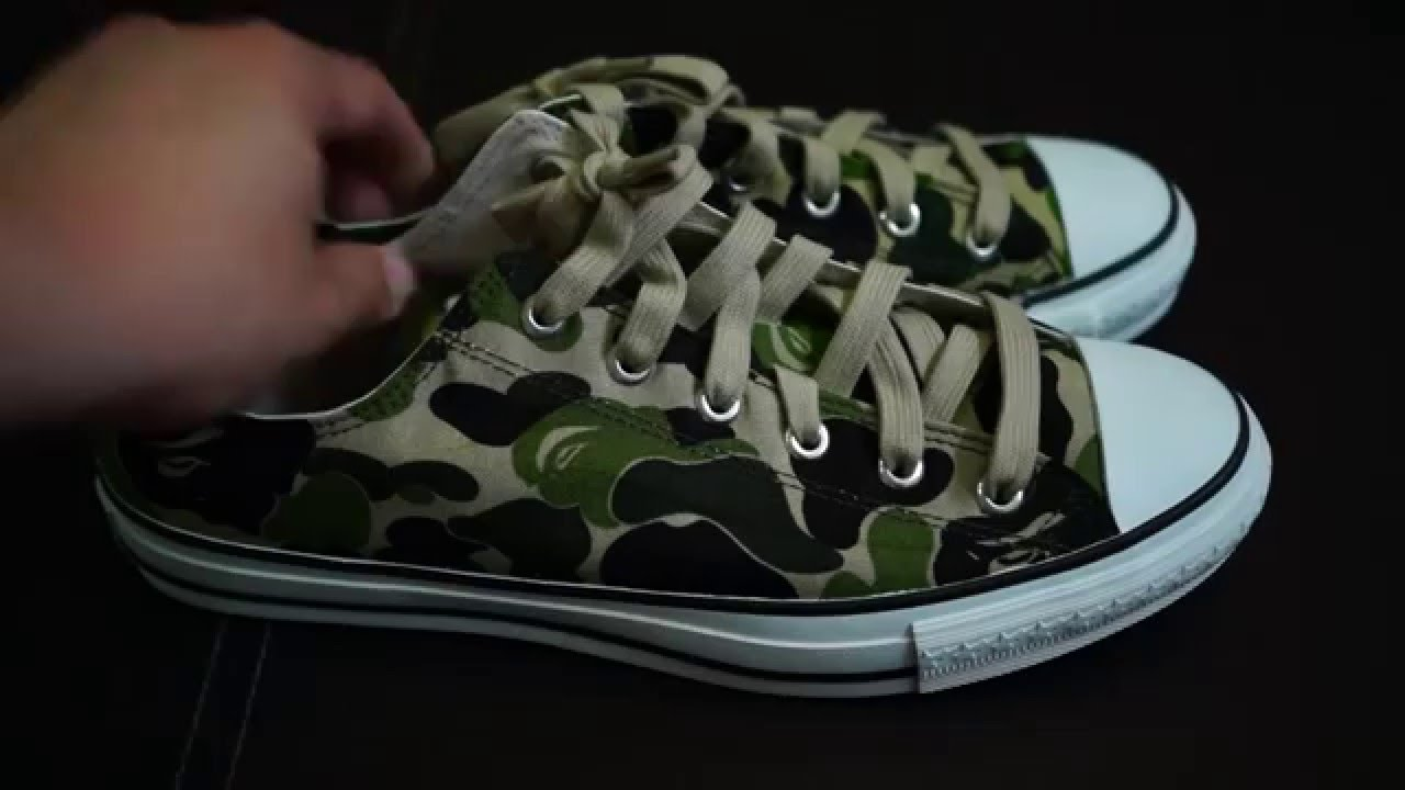 65562d3a Unboxing of BAPE (BAPESTA) ABC Green Camo Low Canvas Shoes - YouTube