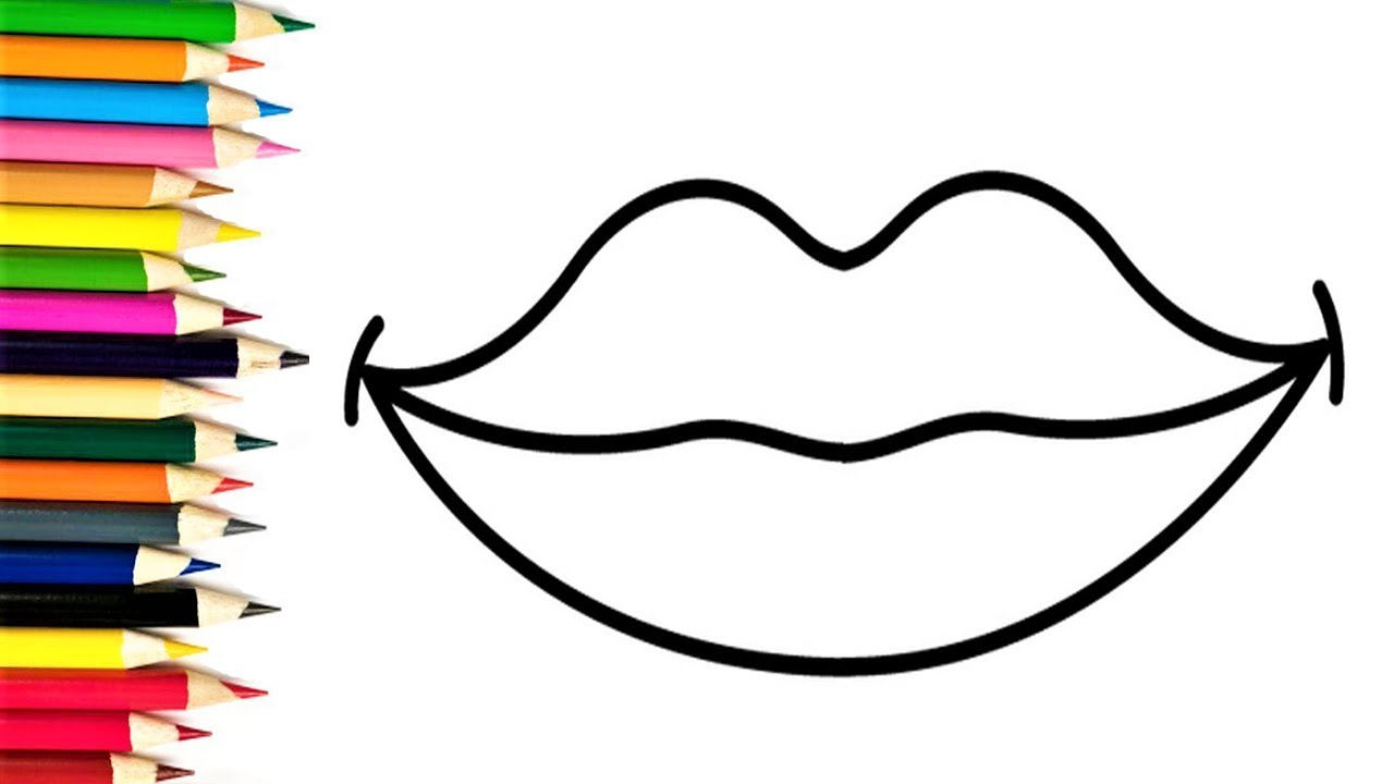 How To Draw Heart Lips Coloring Pages For Kids