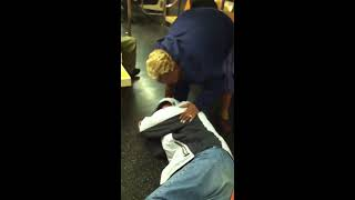 Crazy train fight with drunk guy and crack heads! MTA G Train!